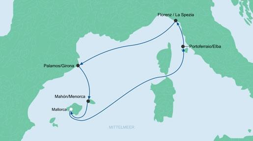 AIDA-Route-Italien-Spanien