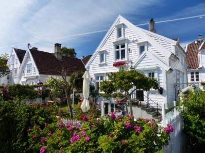 Norwegen-Stavanger-Gamle_Stavanger-Altstadt-weisse_Holzhaeuser-Blumen-9